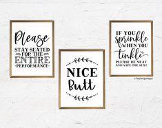 Free Bathroom Decor Printables – Set of 10 Funny Quotes Funny Bathroom Decor, Bathroom Decor Sets, Bathroom Wall Art, Bathroom Humor, Bathroom Signs, Bathroom Prints, Bathroom Ideas, Printable Quotes, Printable Designs