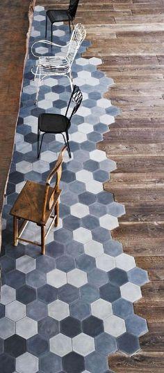 tile to wood floor transition   Paola Navone #restaurantinterior #restaurantdesign #interiordesign