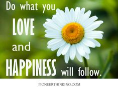 Do what you love and happiness will follow.  more quotes at pioneerthinking.com/quotes       #Happiness Quotes #Love Quotes #Movitational Quotes