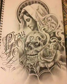 Artwork By. Chicanas Tattoo, Skull Girl Tattoo, Chicano Tattoos Sleeve, Body Art Tattoos, Tattoo Studio, Arte Lowrider, Mexican Art Tattoos, Aztec Tattoo Designs, Chicano Drawings