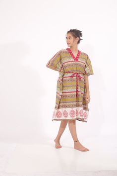 Slide into a cotton block printed kaftan for women to chill comfortably within the confines of your home. Indian Textiles, Resort Wear, Kaftan, Designing Women, Kurti, Lounge Wear, Chill, Short Sleeve Dresses, Printed