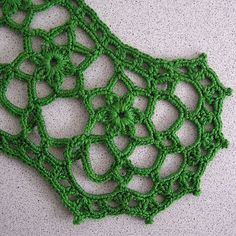 Crochet lace green collar Lace cotton necklace by MyWealth on Etsy