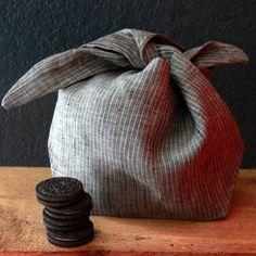 Lavender linen large bindle bento bag by RetroHome on Etsy