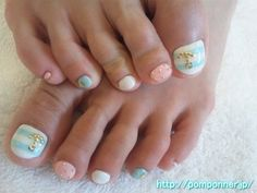 Border of pastel colors pedicure Marin