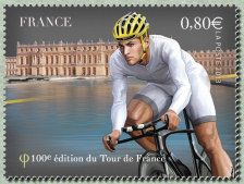 Le maillot blanc devant Versailles Centième Tour de France - Timbre de 2013