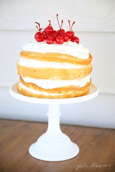 Easy layered cake with mascarpone cream - perfect for 4th of July entertaining