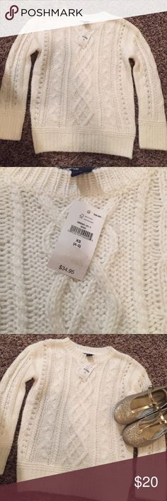 NWT!  Little girls GapKids knit sweater! NWT! It is a white knit sweater perfect for fall and winter! Really soft and warm will go perfect with jeans/leggings and boots. GAP Shirts & Tops Sweaters