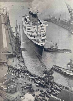 Queen Mary leaving Southampton 0n her maiden voyage. 1936