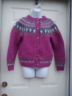 """Hand Knit Sweater Pretty Colors 40"""" BUST Magenta Green Purple White"""