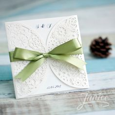Romantic Floral Laser Cut Wedding Invitation Card With Ribbon Wholesale WPL0093