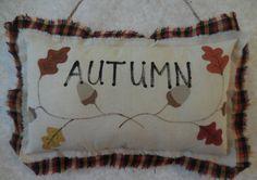 Primitive Autumn Pillow Sign Fall Leaves by auntiemeowsprims