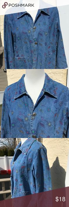 "Floral embroidered denim jacket EUC Stephanie Andrews denim jacket, no size but measurements laid flat are: 20"" armpit to armpit, 23"" shoulder to hem, 22"" sleeves. In very good condition. Machine wash cold tumble dry low. stephanie andrews Jackets & Coats Jean Jackets"