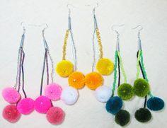 Lisu  Earrings / Pompom /Ethnic /Handmade by CHEZMOIMYHOME on Etsy