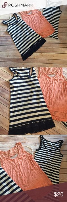 Bundle of tops 3 tops the top with the lace is navy and cream color and the other is black and white Tops Tank Tops