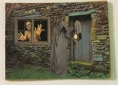 Dollhouse Miniature, Picture, Sign, Artwork, Halloween, Witch, Pumpkin, Bat…