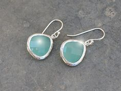 EASTER SALE  Aqua blue glass framed silver earrings by LilliDolli, $18.00