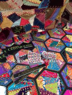 Crazy quilting, hexagons, embroidery, crazy patchwork, embroidery, beading, embellishing, buttons, Foolproof crazy quilting