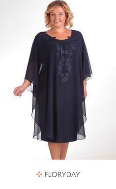 Plus Size Knee-Length Royal Blue Mother of the bride dresse