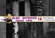 Digitales Papier schwarz Distressed Grunge von CutOutAndPlay