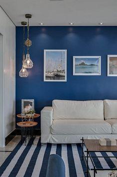 cores para sala azul e branco Sitting Room Decor, Living Room Decor Cozy, Boys Room Decor, Living Room Sofa, Living Room Color Schemes, Paint Colors For Living Room, Study Room Design, Interior Design Living Room, Sala Grande