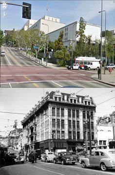 nw corner of 1st street and broadway circa 1940 and now