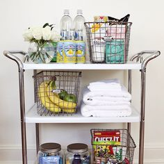 Made this fun project for our guest room. Snacks & extra toiletries to make our houseguests feel special!  #thelarsonhouse