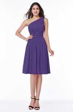 Dark Purple Elegant Asymmetric Neckline Zipper Chiffon Knee Length Plus Size Bridesmaid Dresses