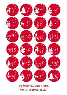 Adventskalenderzahlen Wintermotive Aufkleber von Lottes Laden auf DaWanda.com Christmas Mood, Diy Christmas Gifts, Christmas Projects, Christmas Decorations, Xmas, Homemade Advent Calendars, Diy Advent Calendar, Christmas Stickers, Christmas Printables