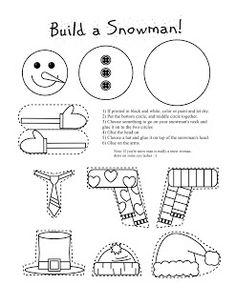 Smarty Pants Fun Printables: Printable Snowman and Snow Woman Arts and Craft for Kids-January