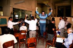 Muslim Brotherhood candidate, Muhammad Morsi, is declared the offical winner of Egypt's presidential election at Cafe el-Horreya in Egypt via Pete Willows