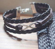 Infinity Wish Bracelet, Black and Brown Charm Bracelet-Brown Wax Cords Leather Braided Bracelet-Charm Friendship Personalized Jewelry