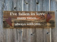 Valentines Day Love Phrase Wooden Sign with Hearts. $26.00, via Etsy.