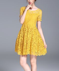 Yellow Lace Fit & Flare Dress by Vicky and Lucas #zulily #zulilyfinds