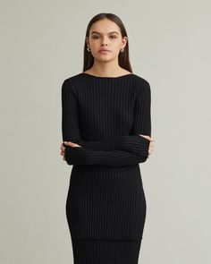 Light rib knit sweater shaped in a soft and flattering silhouette, featuring long sleeves with thumbholes, and a longer body with slits on both sides. Ribbed Sweater, Apothecary, Designing Women, Rib Knit, High Neck Dress, Silhouette, Knitting, Formal Dresses, Long Sleeve