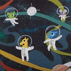 Space Explorers - Volleyball - Whimsical artwork of animals playing volleyball in space.  #kidsroom #kidsroomart #cuteart #whimisicalart #wallart #childrensroomart