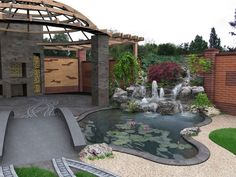 Your outdoor living spaces truly are an extension of your home decor and you should tie it into the nearby feature you include in your landscaping. This contemporary deck meanders gracefully into the surrounding yard, and includes the pond as part of the overall design.