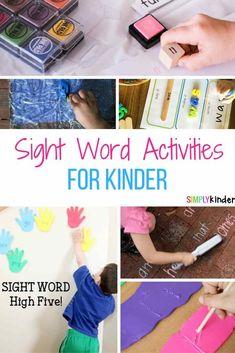 sight word activities for kindergarten #sighwords #kindergarten #learningisfun #classroom #teacherideas