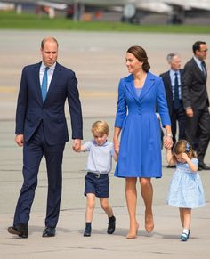 Catherine, Duchess of Cambridge, Prince William, Duke of Cambridge, Prince George and Princess Charlotte arrive at Berlin's Tegel Airport during an official visit to Poland and Germany on July 19, 2017 in Berlin, Germany.