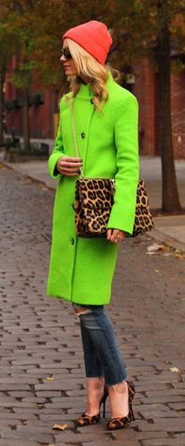 neon & leopard. Must have this cute coat