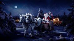 Wallpaper santa claus, sleigh, girl, horse, tree, night, christmas, bag, gifts