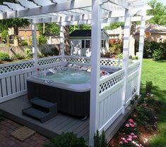 Whirlpool für außen garten halb einbau   Outdoor lounge ...
