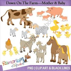 On the farm - mother & baby from RamonaMClipArt on TeachersNotebook.com -  - Farm animals, mother and baby set - chicken, chow, duck, goat, horse, pig & sheep