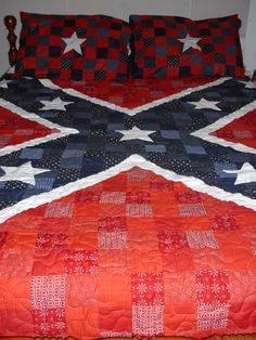 Confederate Flag patchwork. Pattern and quilt made by Tammie Roberts.