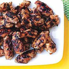 Grilled Chicken Wings with Jala-Peach Sauce. Crispy skin, tender meat and sweet, succulent flavor!