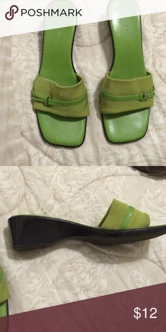 Green slip on shoes Lime green maripe's 1 1/2 heel Meripe Shoes Sandals