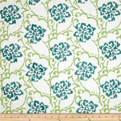 Duralee Embroidered Song Blend Aqua/Green from @fabricdotcom  This embroidered poly/linen blend fabric is heavyweight and perfect for window treatments, bedding such as duvet covers, pillow shams, accent pillows and more. This fabric features a floral rayon embroidered design. Colors include teal and lime on white.