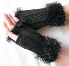 Items similar to Fingerless Gloves Mittens Black Arm Warmers Knit, Acrylic on Etsy Fingerless Gloves Knitted, Knit Mittens, Crochet Gloves Pattern, Hand Gloves, Wrist Warmers, Knitting Accessories, Hand Knitting, Couture, Etsy