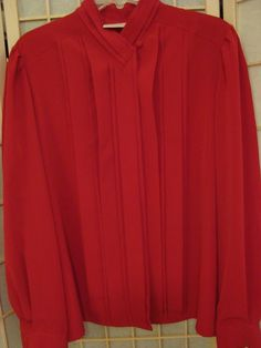 Christie & Jill Sz 16 Red Pleated Front Dressy Career Blouse Hidden Buttons #ChristieJill #ButtonDownBlouse #CareerDressy