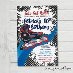 Roller Blading Invitation Roller Blades Boys Birthday Party Invite JPEG Digital File Customized Skate Grunge by ImaginationInvites on Etsy