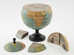 """This """"dissected globe"""" dates to around 1866 - at the time such items were a popular toy for children - dissected globe brings to mind many possibilities for a puzzle along with information such as the Earth's interior makeup & tectonics. Vintage Maps, Art Globe, Globe Lamps, Cs6 Photoshop, Map Crafts, World Globes, Deco Boheme, E Mc2, Interior Design Offices"""